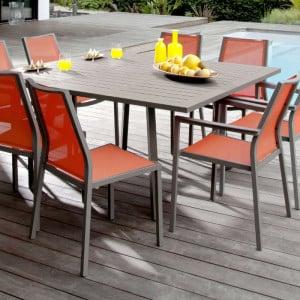 Ensemble de jardin - table Barcelona 100/145 cm café - 8 chaises Ida paprika - 8 personnes - Aménagement coin repas terrasse
