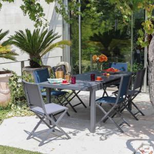 Ensemble de jardin - table Lift Valencia 160/206 cm grise - 6 chaises Ida beues - 6 personnes - Aménagement coin repas terrasse
