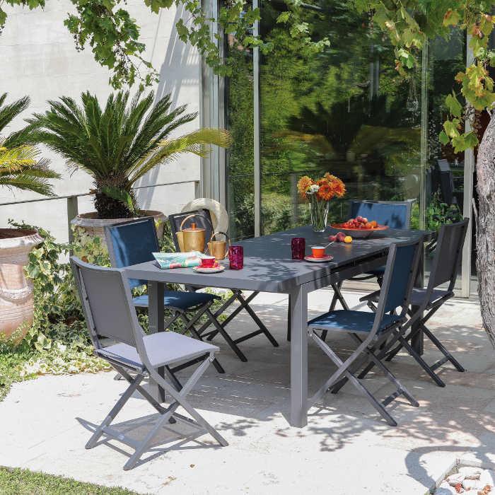 Ensemble de jardin table Lift Valencia 160/206 cm grise et 6 chaises ...