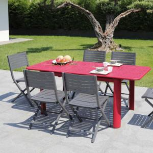 Ensemble de jardin - table EOS 130/180 cm rouge - 6 chaises Lucca rouges - 6 personnes - Aménagement coin repas terrasse