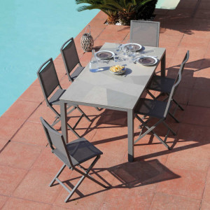 Ensemble de jardin - table Bavella 180 cm mosaïque - 6 chaises Ida taupe - 6 personnes - Aménagement coin repas terrasse