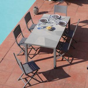 Ensemble de jardin - table Bavella 180 cm mosaïque - 6 chaises Lucca taupe - 6 personnes - Aménagement coin repas terrasse