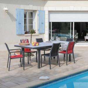 Ensemble de jardin - table Lift Tavera 180/240 cm grise - 6 chaises Ida rouges - 6 personnes - Aménagement coin repas terrasse