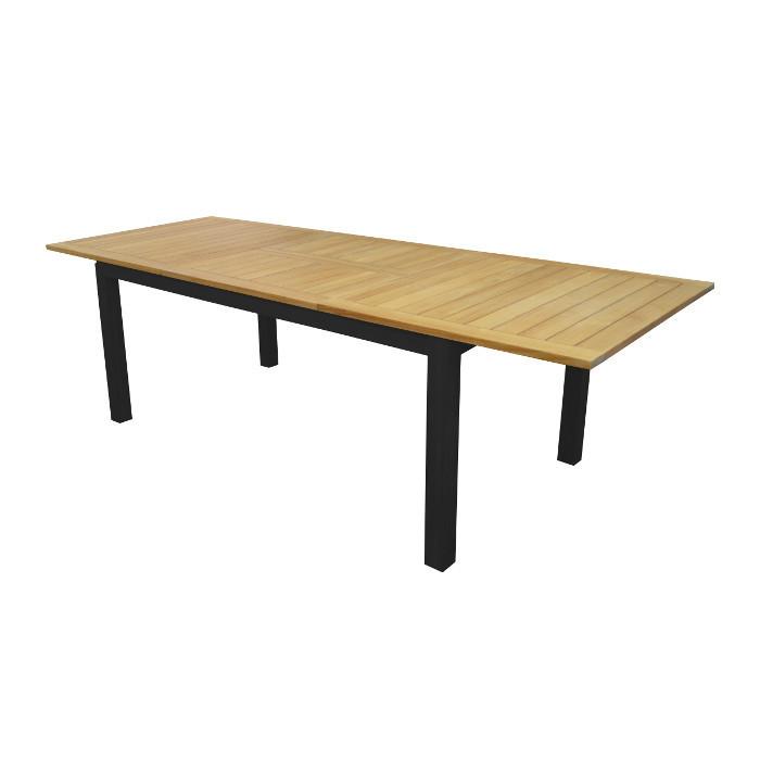 Table de jardin Tempo - 180/240 cm - alu - teck
