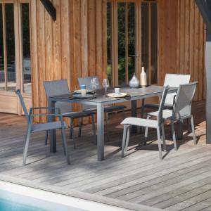 Ensemble de jardin - table Stoneo 180 cm grise - 6 fauteuils Palma gris - 6 personnes - Aménagement coin repas terrasse