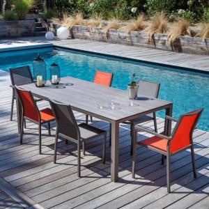 Ensemble de jardin - table Stoneo 180 cm café - 6 fauteuils Ida café - 6 personnes - Aménagement coin repas terrasse