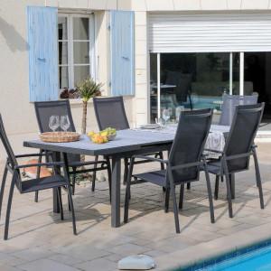 Ensemble de jardin - table Lift Tavera 180/240 cm grise - 6 fauteuils Fusion - 6 personnes - Aménagement coin repas terrasse