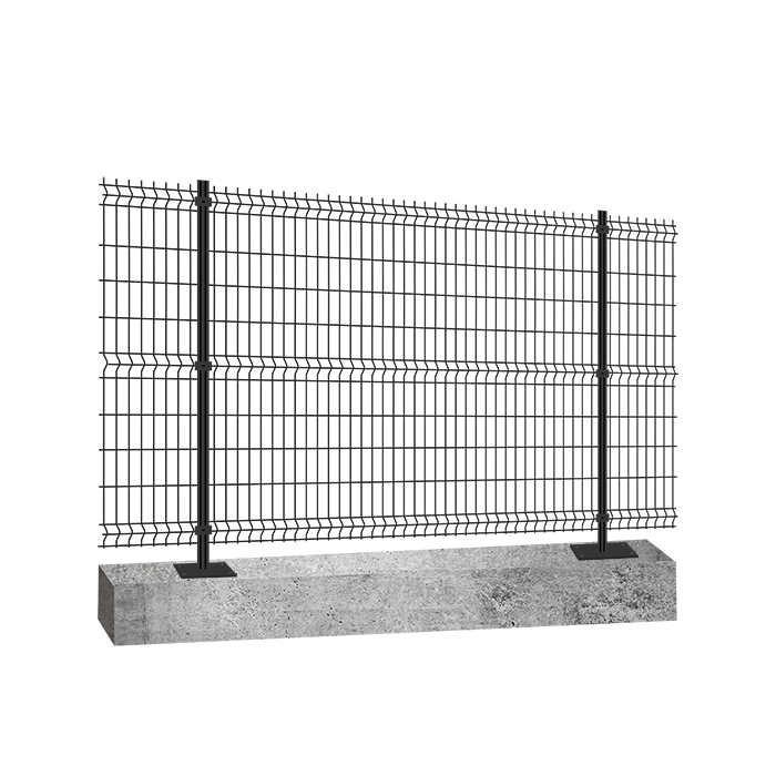 Panneau clôture rigide NBC - H1,23m - L2,50m - Acier galvanisé - Poteau platine béton - gris