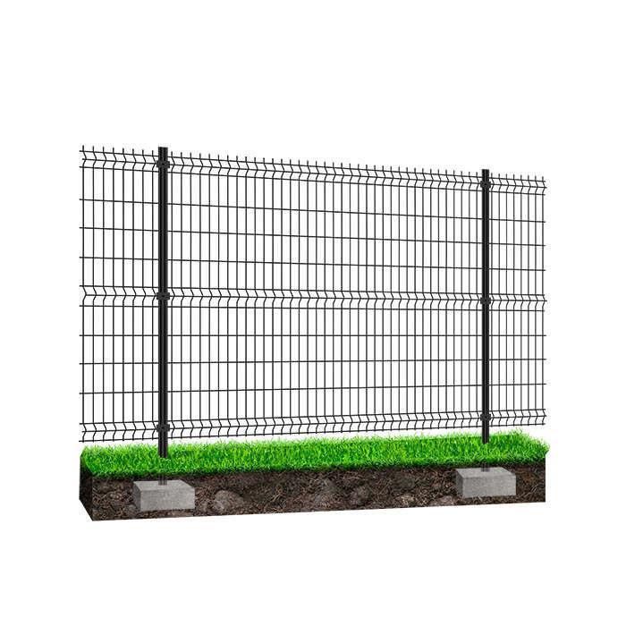 Panneau clôture rigide NBC - H1,23m - L2,50m - Acier galvanisé - Poteau à sceller - gris