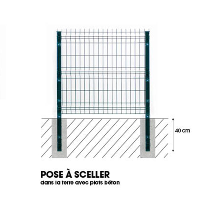 Pose poteau à sceller clôture rigide NBC - H1,93m - Acier galvanisé