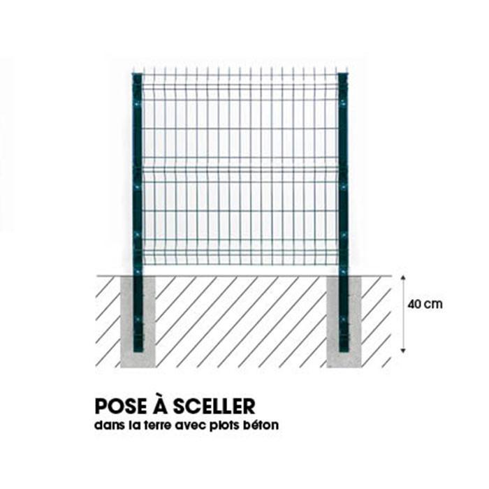 Pose poteau à sceller clôture rigide NBC - H2,33m - Acier galvanisé