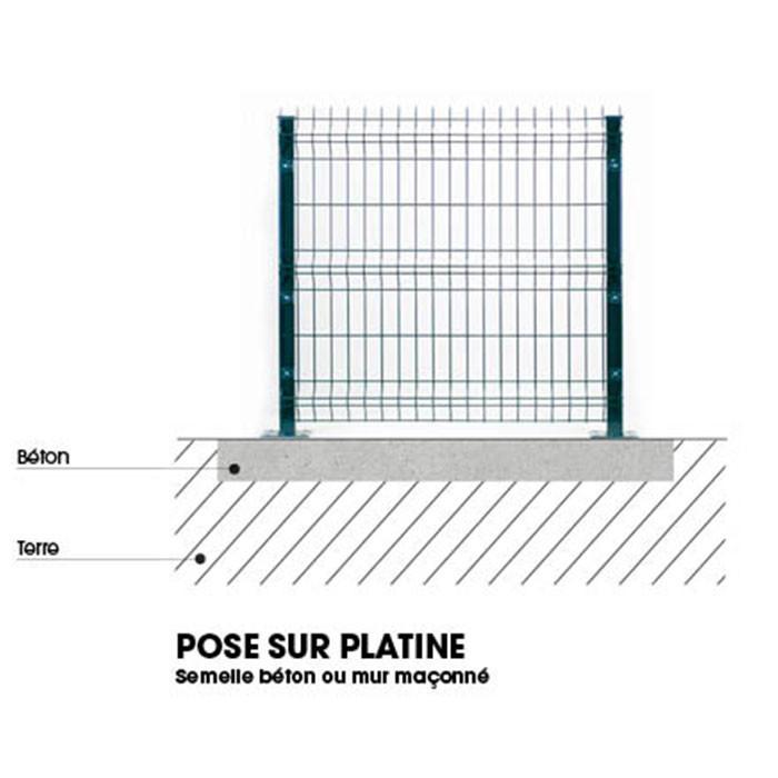 Pose poteau platine clôture rigide NBC - H1,73m - Acier galvanisé
