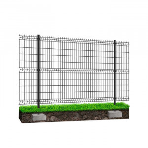 Kit à sceller clôture rigide NBC - H1,23m - L2,50m -  Acier galvanisé - gris