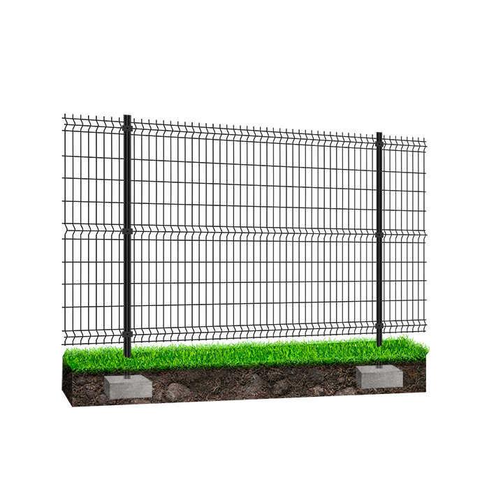 Kit à sceller clôture rigide NBC - H1,73m - L2,50m - Acier galvanisé - gris
