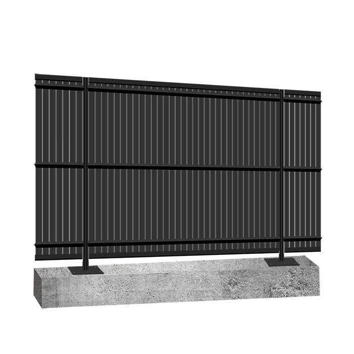 Kit occultant clôture rigide NBC - H1,93m - L2,50m - Lames occultantes PVC - Pose poteaux platine béton - gris