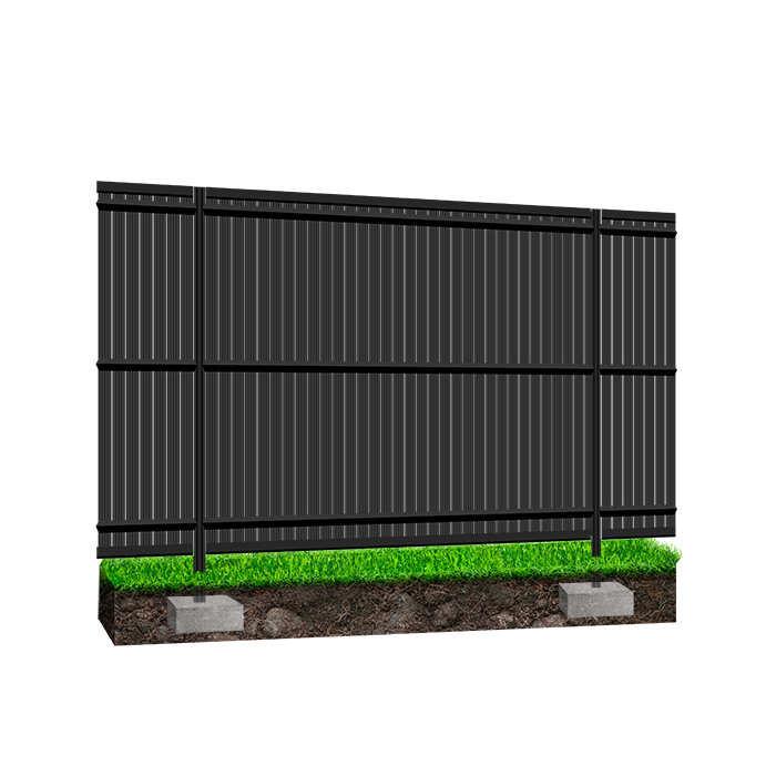 Kit occultant clôture rigide NBC - H1,93m - L2,50m - Lames occultantes PVC - Pose poteaux à sceller - gris