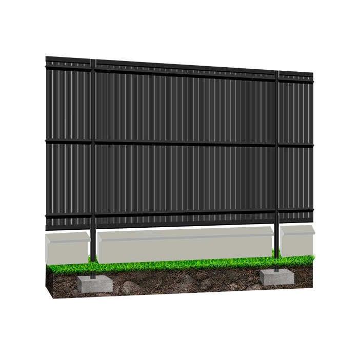 Kit occultant clôture rigide soubassement NBC - H1,93m - L2,50m - Lames occultantes PVC - Pose poteaux à sceller - gris