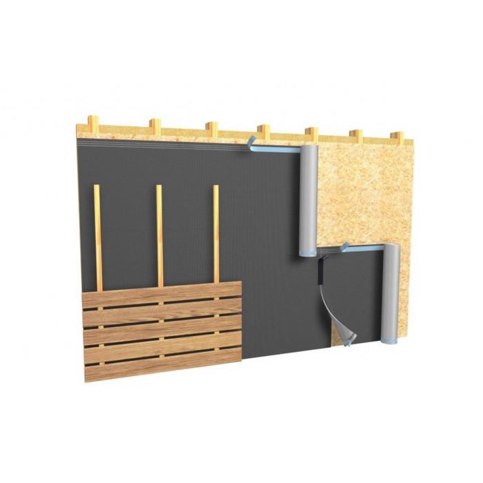 Application sur façade du pare-pluie DELTA FASSADE DORKEN pour bardage bois claire-voie