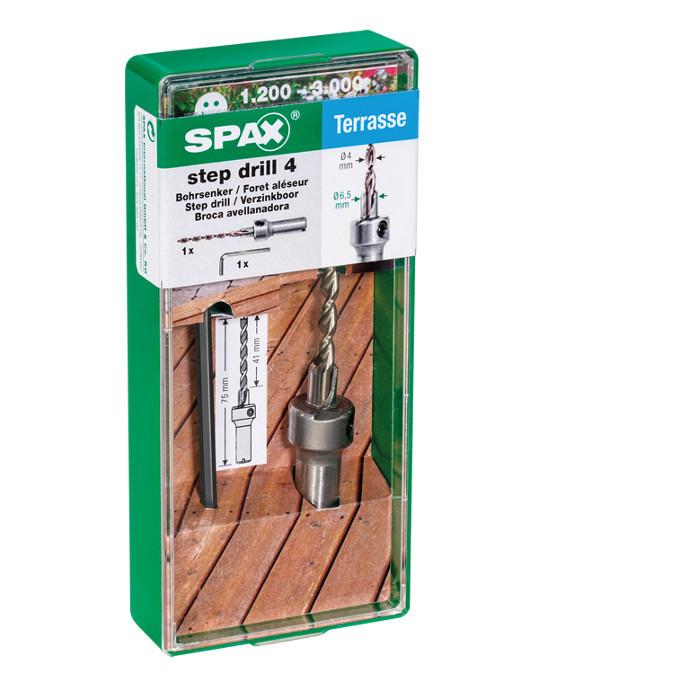 Foret aléseur terrasse exotique SPAX - Aléseur Ø6,5mm - Mèche bois dur Ø4mm - Clé Allen