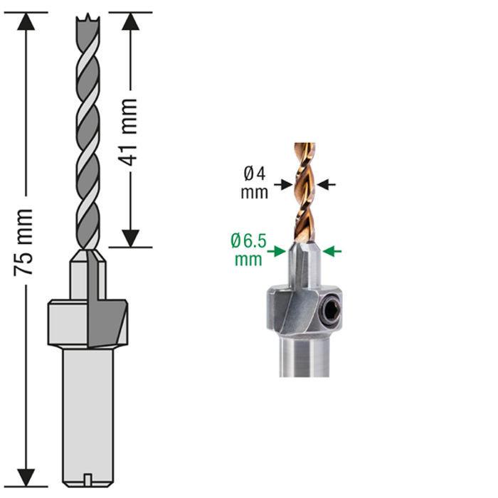 Schéma foret aléseur terrasse exotique SPAX - Aléseur Ø6,5mm - Mèche bois dur Ø4mm