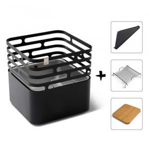 Ensemble brasero Cube - Höfats - Black - Grille de cuisson - Plancha - Tablette bambou