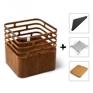 Ensemble brasero Cube - Höfats - Rusty - Grille de cuisson - Plancha - Tablette bambou