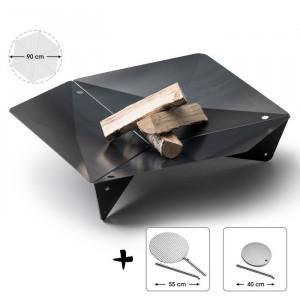Ensemble brasero Triple - Höfats - Diamètre 90cm - Grille cuisson - Plaque plancha en inox avec tige maintien 40cm
