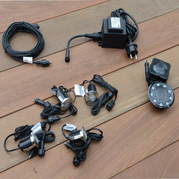 Kit Led alpha encastrable avec transformateur 60 watt, 4 led, rallonge 6 m, télécommande et récepteur