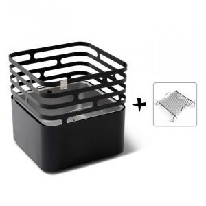 Ensemble brasero Cube - Höfats - Couleur noir - Grille acier barbecue à charbon