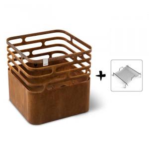 Ensemble brasero Cube - Höfats - Couleur rouille - Grille acier barbecue à charbon