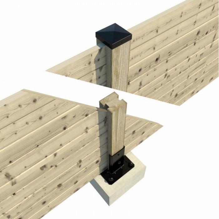 Vue en coupe pour fixation de poteau de clôture palissade bois avec chapeau de finition