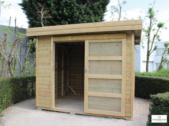 Abri de jardin en bois de la marque Exterior Living - Porte coulissante - Pin traité è Modèle Vintage