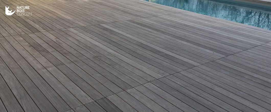 belle terrasse en bois exotique grisée