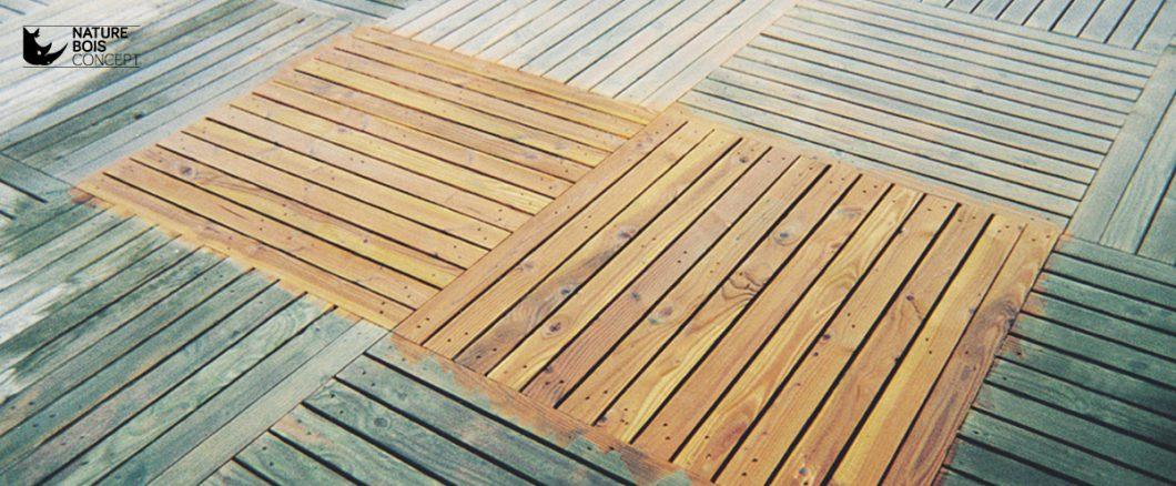 application dégriseur sur dalles de bois