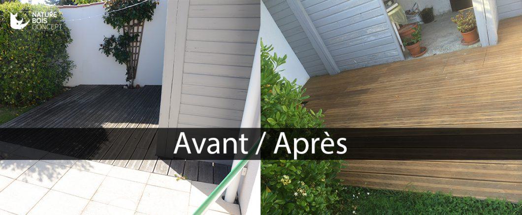 avant et après application de saturateur bois