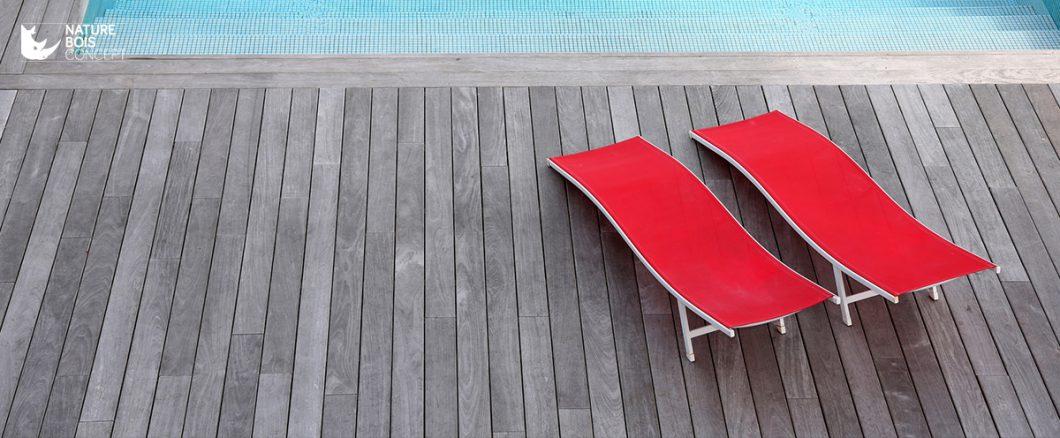 terrasse en bois grisé naturelle