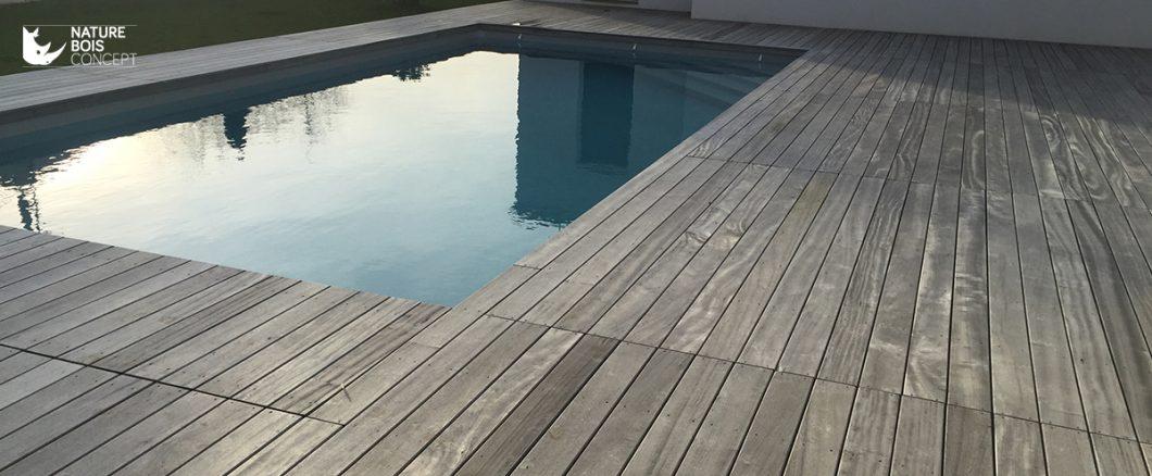 terrasse en bord de piscine bois exotique padouk