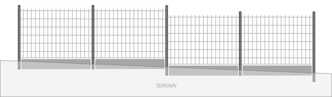 Fig. 6 - Rattrapage de niveau à l'aide de plaques de soubassement