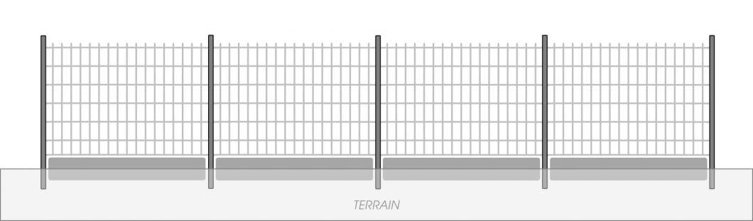 Fig. 5 - Mise en oeuvre de plaques de soubassement sur terrain plat