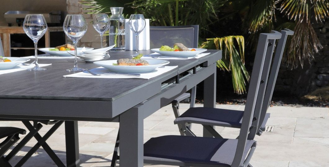 Table de jardin extensible Lift Teramo 180-235cm gris brun plateau Trespa - Proloisirs
