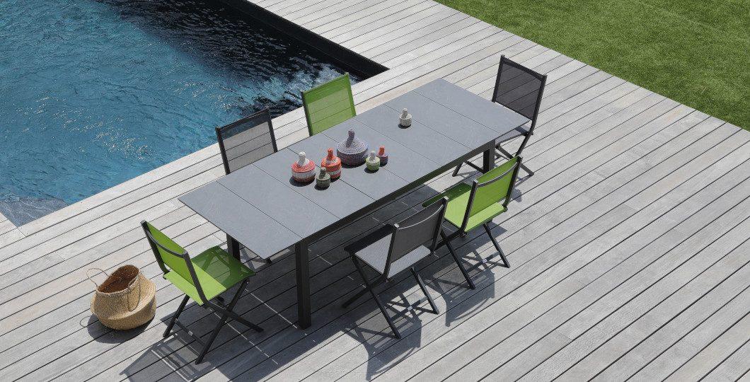 Ensemble salon de jardin table Tahaa 180-240cm gris lucerne chaises pliantes Thema Alizé Proloisirs