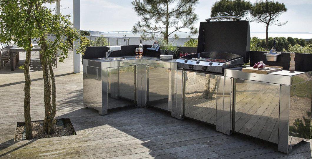 Aménagement cuisine extérieur modules inox hpl ENO
