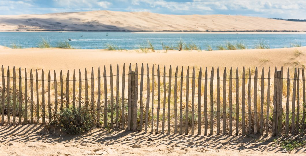 Délimitation bord de plage clôture ganivelle bois de châtaignier - Atlantique
