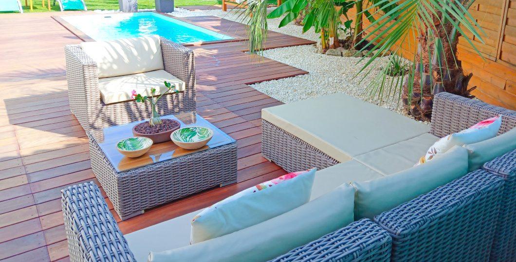 Aménagement surface espace extérieur piscine et coin détente