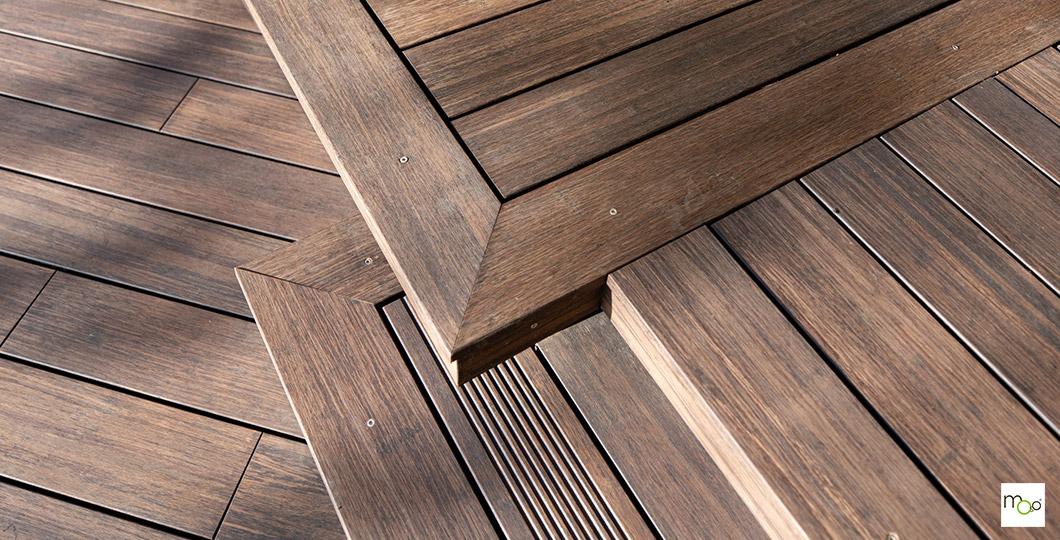 Installation de terrasse avec lames réversibles bambou MOSO X-TREME